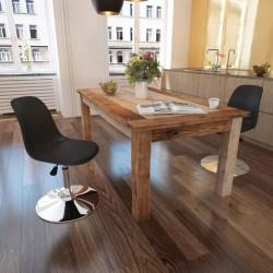 stradeXL Obrotowe krzesła stołowe, 2 szt., czarne, sztuczna skóra
