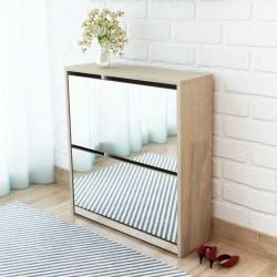 stradeXL Shoe Cabinet 2-Layer Mirror Oak 63x17x67 cm