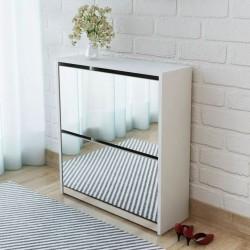 stradeXL Szafka na buty z 2 półkami i lustrem, biała, 63x17x67 cm
