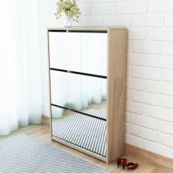 stradeXL Shoe Cabinet 3-Layer Mirror Oak 63x17x102.5 cm