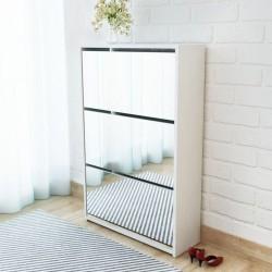 stradeXL Shoe Cabinet 3-Layer Mirror White 63x17x102.5 cm