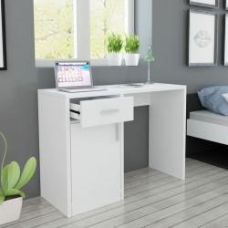 stradeXL Biurko z szufladą i szafką w kolorze białym 100x40x73 cm