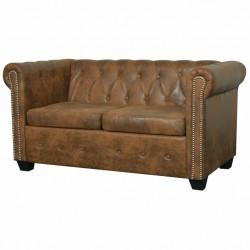 stradeXL Dwuosobowa sofa Chesterfield ze sztucznej skóry, brązowa
