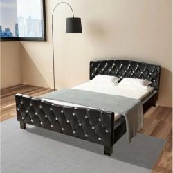 stradeXL Rama łóżka, czarna, sztuczna skóra, 140 x 200 cm