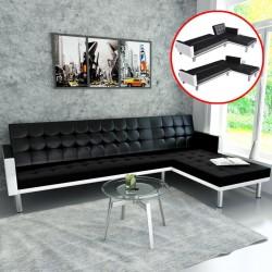 stradeXL Sofa narożna z funkcją rozkładania, sztuczna skóra, czarna