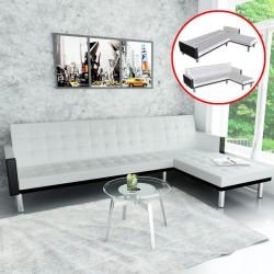 stradeXL Sofa narożna z funkcją rozkładania, sztuczna skóra, biała