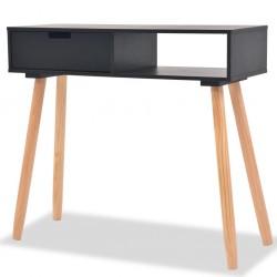 stradeXL Stolik typu konsola, drewno sosnowe, 80x30x72 cm, czarny