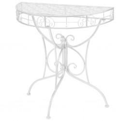 stradeXL Półokrągły stolik vintage, metalowy, 72 x 36 x 74 cm, srebrny