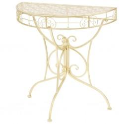stradeXL Półokrągły stolik vintage, metalowy, 72 x 36 x 74 cm, złoty