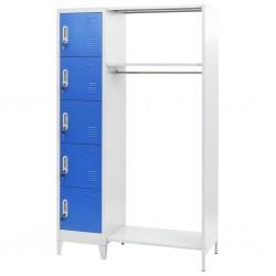 stradeXL Szafka z wieszakiem, niebiesko-szara, 110 x 45 x 180 cm, metal