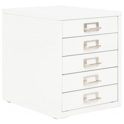stradeXL Szafka na dokumenty z 5 szufladami, metal, 28x35x35 cm, biała