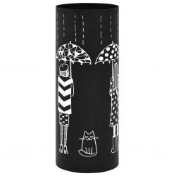 stradeXL Stojak na parasole, wzór z kobietami i kotem, stalowy, czarny