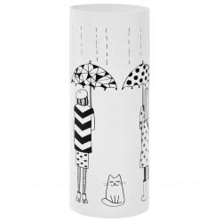 stradeXL Stojak na parasole, wzór z kobietami i kotem, stalowy, biały