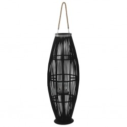 stradeXL Hanging Candle Lantern Holder Bamboo Black 95 cm