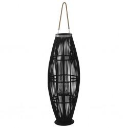 stradeXL Wiszący lampion na świece, bambusowy, czarny, 95 cm