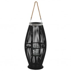 stradeXL Hanging Candle Lantern Holder Bamboo Black 60 cm