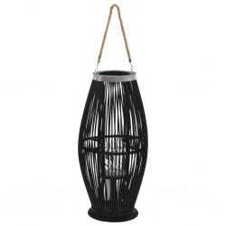 stradeXL Wiszący lampion na świece, bambusowy, czarny, 60 cm