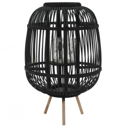 stradeXL Freestanding Candle Lantern Holder Bamboo Black