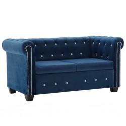 stradeXL Sofa Chesterfield, 2-os., aksamit, 146x75x72 cm, niebieska