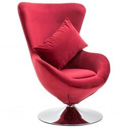 stradeXL Fotel obrotowy z poduszką, czerwony, aksamitny