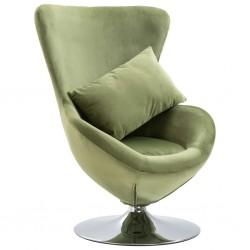 stradeXL Fotel obrotowy z poduszką, jasnozielony, aksamitny