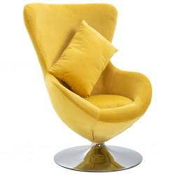 stradeXL Fotel obrotowy z poduszką, żółty, aksamitny