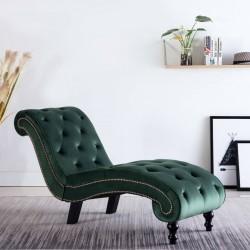 stradeXL Szezlong, zielony, tapicerowany aksamitem