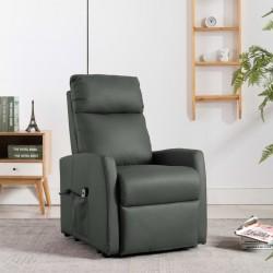 stradeXL Fotel rozkładany, podnoszony, szary, skóra syntetyczna