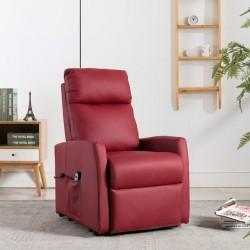 stradeXL Fotel rozkładany, podnoszony, czerwone wino, skóra syntetyczna