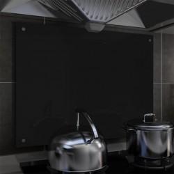 stradeXL Panel ochronny do kuchni, czarny, 80x60 cm, szkło hartowane