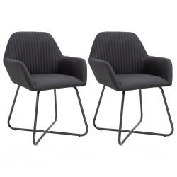 stradeXL Krzesła stołowe, 2 szt., czarne, tapicerowane tkaniną