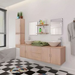 stradeXL 11-częściowy zestaw mebli łazienkowych ze zlewami i kranami