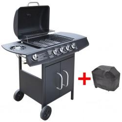 stradeXL Grill gazowy ze strefą gotowania 4+1, kolor czarny