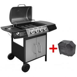 stradeXL Grill gazowy ze strefą gotowania 4+1, kolor czarno-srebrny