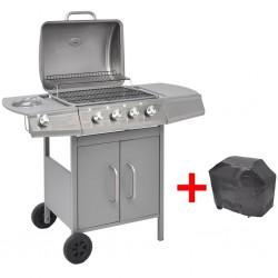 stradeXL Grill gazowy ze strefą gotowania 4+1, kolor srebrny