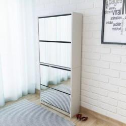 stradeXL Shoe Cabinet 4-Layer Mirror White 63x17x134 cm