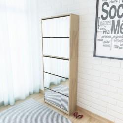 stradeXL Shoe Cabinet 5-Layer Mirror Oak 63x17x169.5 cm