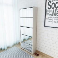stradeXL Szafka na buty z 5 półkami, lustrzana, biała, 63x17x169,5 cm