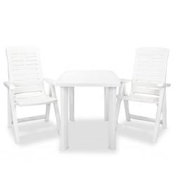 stradeXL 3-cz. zestaw mebli bistro, plastik, biały