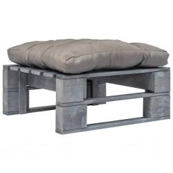 stradeXL Ogrodowe siedzisko z palet z szarą poduszką, szare drewno