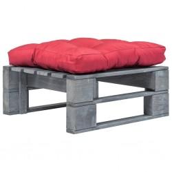 stradeXL Ogrodowe siedzisko z palet, czerwona poduszka, szare drewno