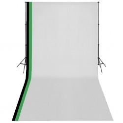 stradeXL Photo Studio Kit with 3 Cotton Backdrops Adjustable Frame 3x6m