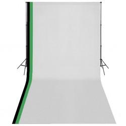 stradeXL Zestaw fotograficzny z 3 tłami z bawełny i stelażem, 3x6 m