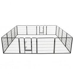 stradeXL Kojec dla psów, 16 paneli, stalowy, 80 x 80 cm, czarny