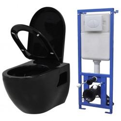 stradeXL Podwieszana toaleta ceramiczna ze spłuczką, czarna