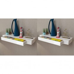 stradeXL Półki wiszące z szufladami, 2 szt., białe, 80 cm