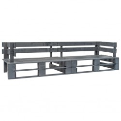 stradeXL Sofa ogrodowa z palet, 2 osobowa, szare drewno
