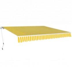 stradeXL Markiza zwijana ręcznie, 600 cm, żółto-biała