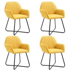 stradeXL Krzesła do jadalni, 4 szt., żółte, tapicerowane tkaniną