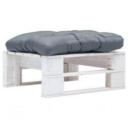 stradeXL Ogrodowy stołek z palet z szarą poduszką, biały, drewno